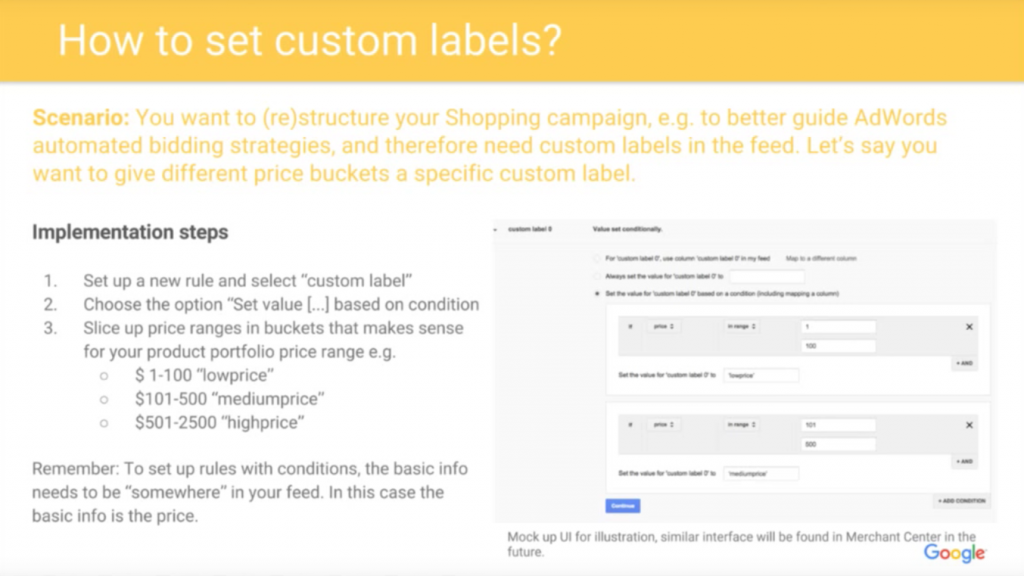 google shopping feed custom labels
