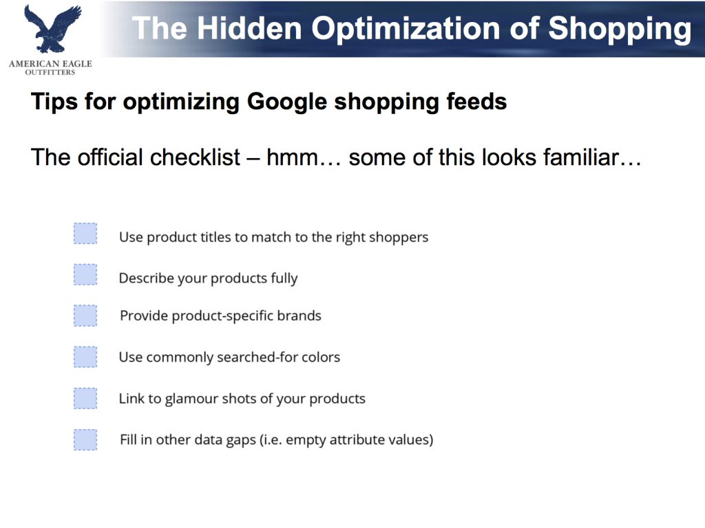 google shopping checklist