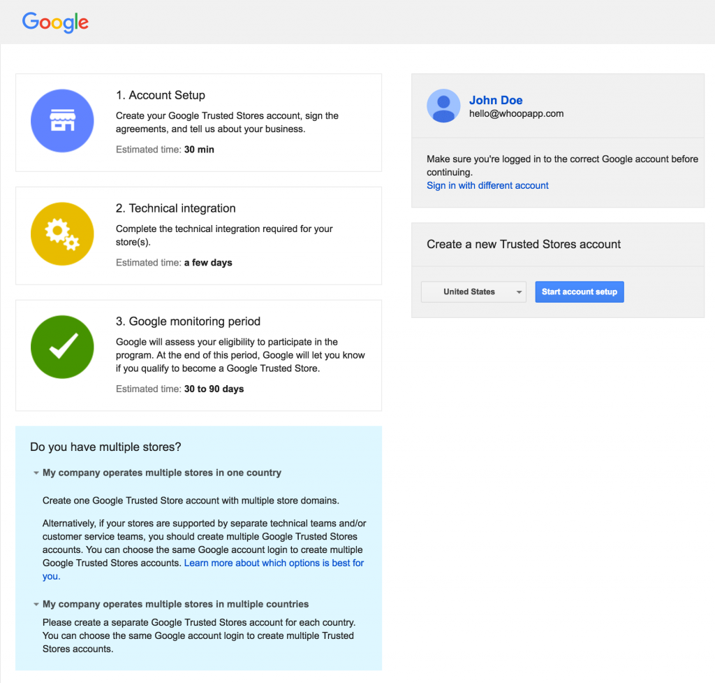 Google trusted store signup