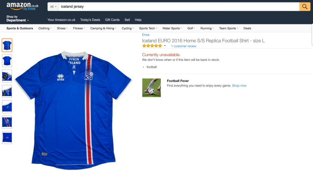 amazon iceland jersey is out of stock
