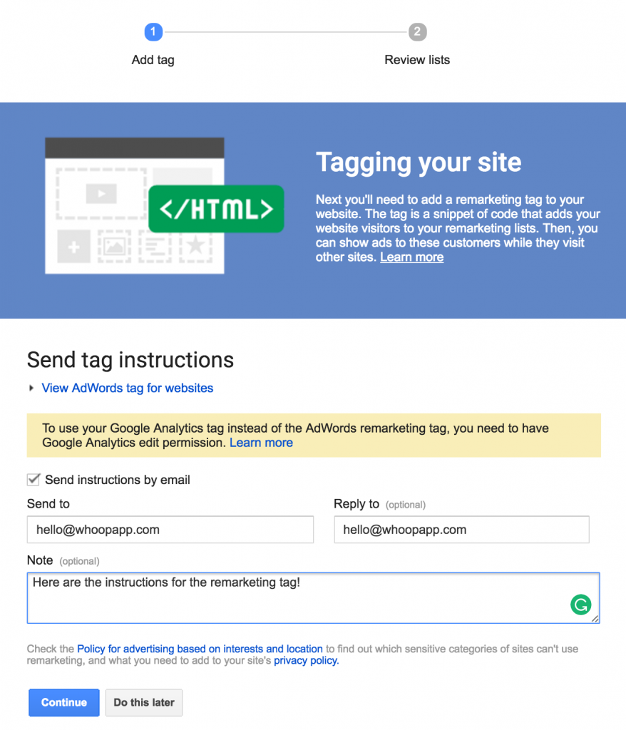 Google remarketing tag 2