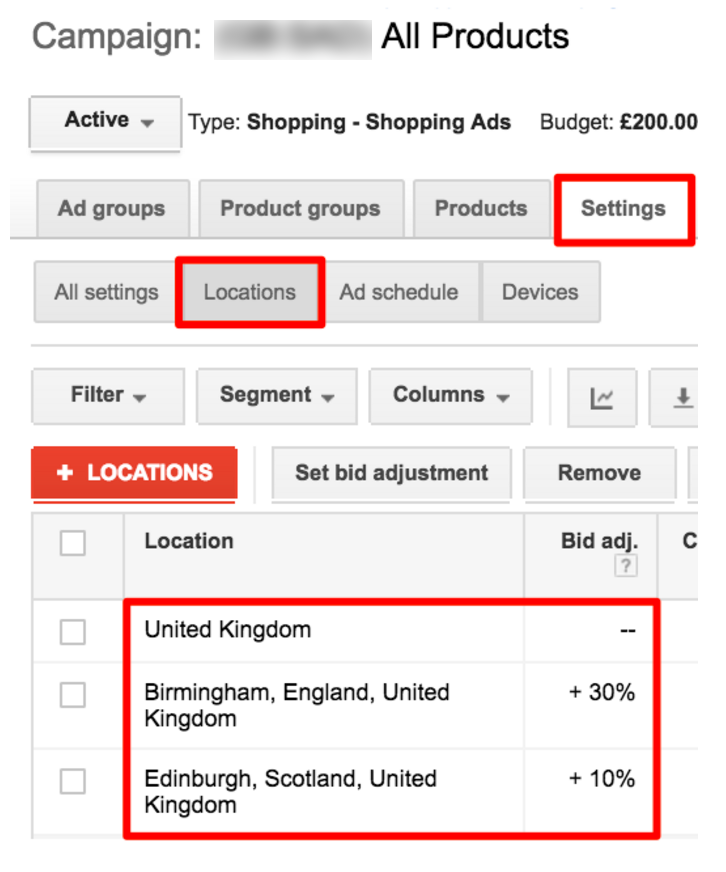 location extension adwords interface