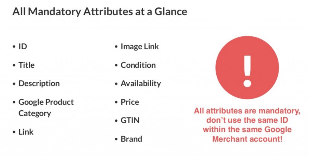 mandatory attributes product feed