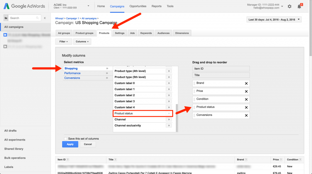 adwords product feed status