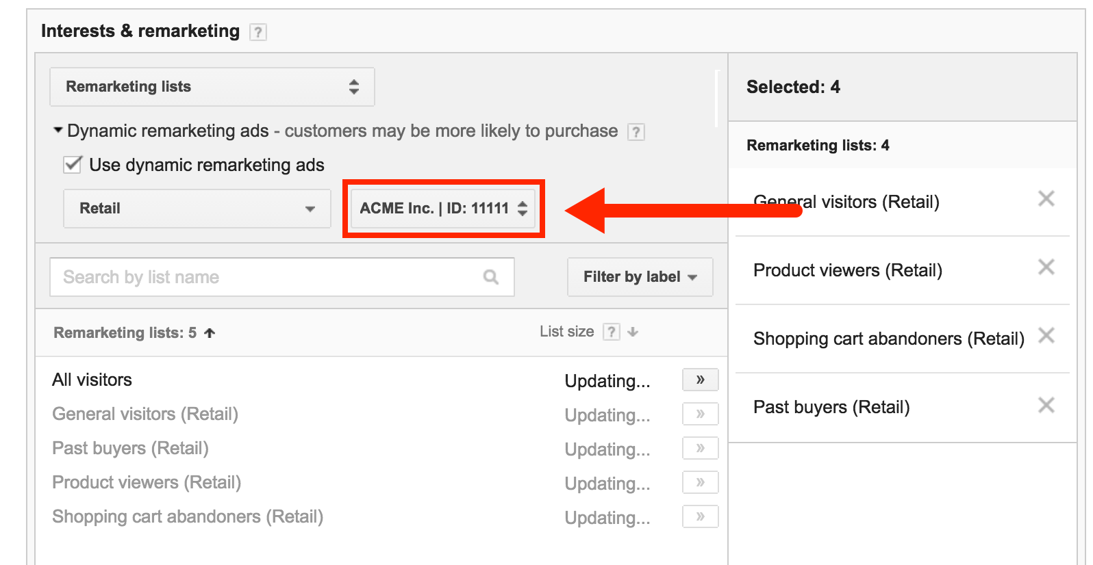 how to create remarketing code