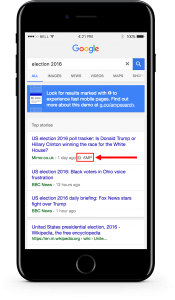 example screenshot of amp news