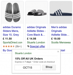 Google Shopping result showing an offer (adidas slides) including a 'percent off discount' and a discount code