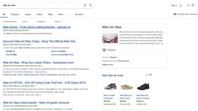 Bing Shopping ads displayed on the Bing search results page