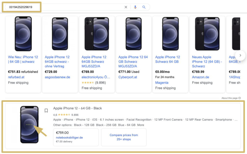 Tip for Google Shopping title optimisation: How to view the generic product listing for your own products' GTINs: search for a GTIN in the Google Shopping tab, and skip past the first row of results (Sponsored Ads).