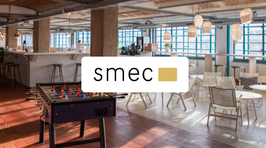 smec logo in the center of a picture background canvas